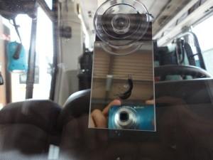 バスのフロントガラスリペア 施工前